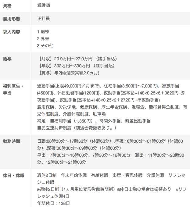 徳島健生病院の看護師求人